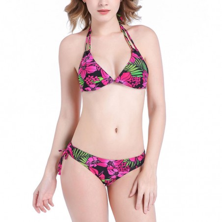 Floral Padded Tie Up Halter Bikini Set