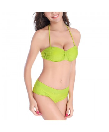 Ruched Push Up Halter Bikini Set