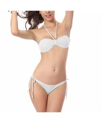 Ruched Halter Bandeau Bikini Set
