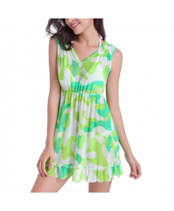 Print Ruffle Beach Cover Up Dress