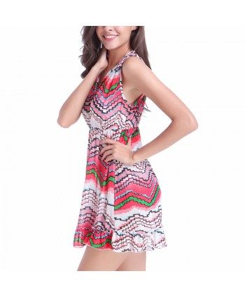 Waves Print Ruffle Cover Up Dress