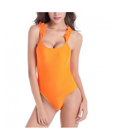 Ruffle Cutout Back One Piece Swimsuit