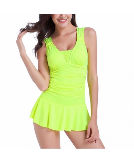 Ruched Tummy Control Skirted Swimsuit