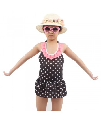 Girls Polka Dot Ruffle Skirted Swimsuit