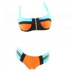 color-block-zipper-bikini-set