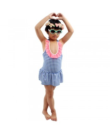 Girls Plaid Ruffle Skirted Swimsuit