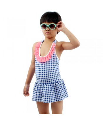 Girls Plaid Ruffle Skirted Swimsuit