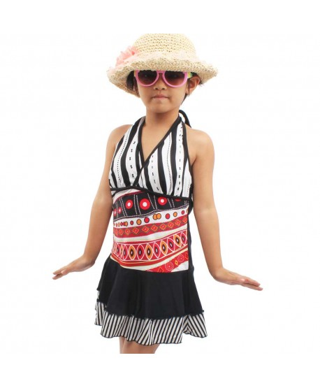 Girls Print Halter Skirted Swimsuit