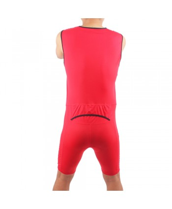 Mens Sleeveless Triathlon Suit in Red