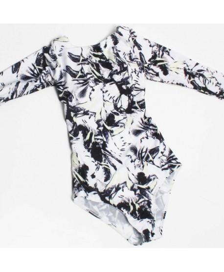 Long Sleeve Leaf One Piece Swimsuit