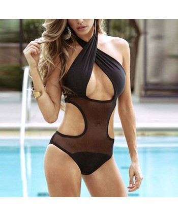 Criss Cross Mesh Panel One Piece Swimsuit