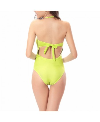 Ruched Halter One Piece Swimsuit