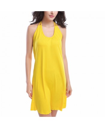 Solid Halter Cover Up Dress