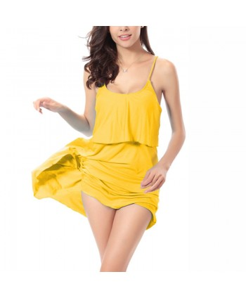 Solid Layerd Cover Up Slip Dress