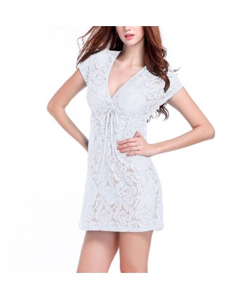 Deep V Drawstring Lace Cover Up Dress