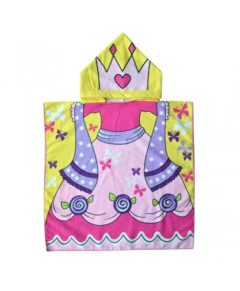 Girls Cartoon Print Bath Hooded Poncho Towel