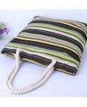 Striped Canvas Tote Handbag for Women