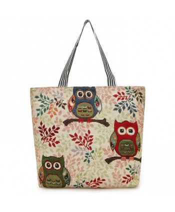Owl Print Beach Tote Bag