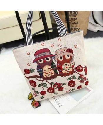 Floral Owl Cute Beach Tote Bag