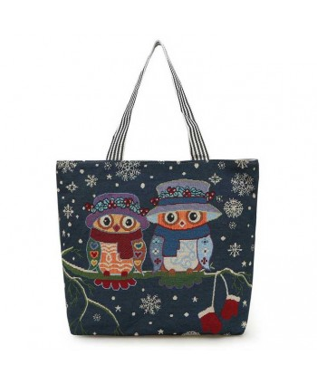 Snowflake Owl Canvas Beach Tote Bag
