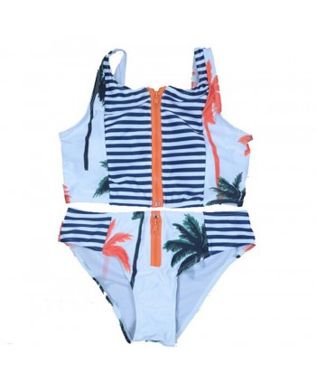 Palm Tree Striped Zip Up Bikini Set