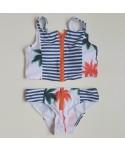 Palm Tree Striped Zip Up Bikini Set
