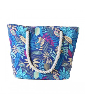Womens Leaf Print Canvas Beach Bag