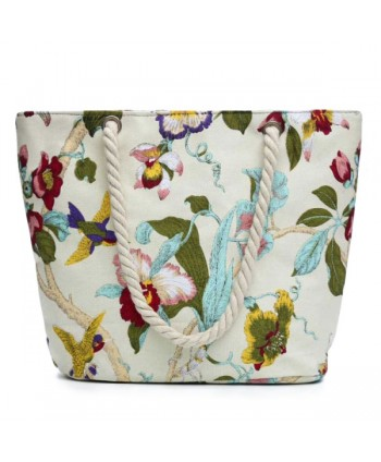 Floral Print Canvas Beach Tote Bag