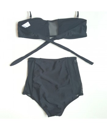 Mesh Insert High Waisted Bikini Set