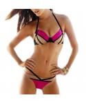 Color Block Push Up Bikini Set