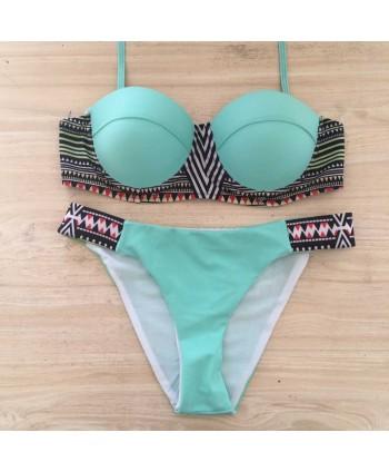 Print Push Up Halter Bikini Set