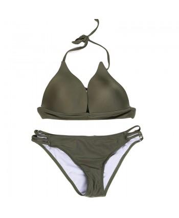 Solid Strappy Halter Bikini Set