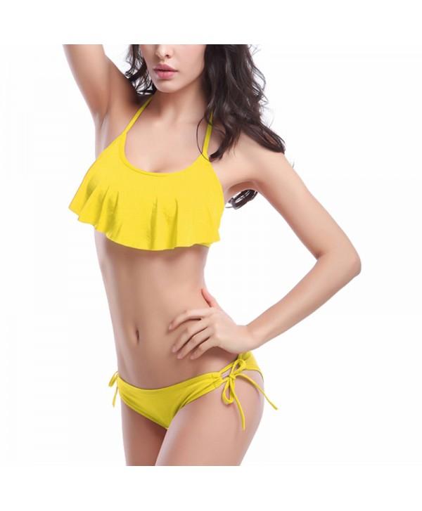 Solid Flounce Bikini Set
