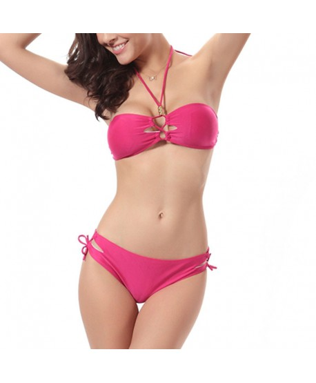 Solid Halter Bikini Set