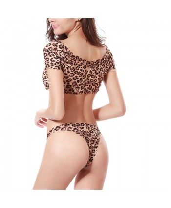 Leopard Crop Top Bikini Set