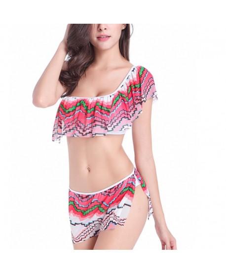 Zigzag One Shoulder Bikini Set
