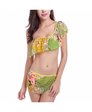 Floral One Shoulder Bikini Set