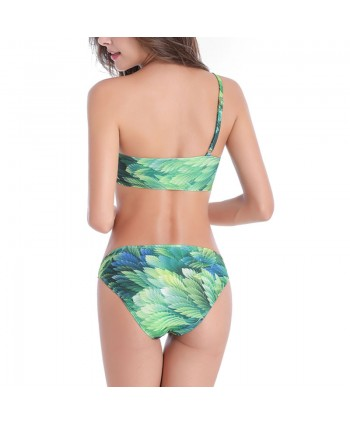 Plus Size Leaf One Shoulder Bikini Set