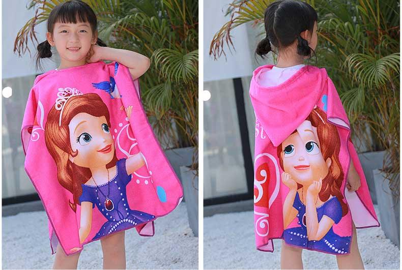 Girls Cartoon Print Bath Hooded Poncho Towel