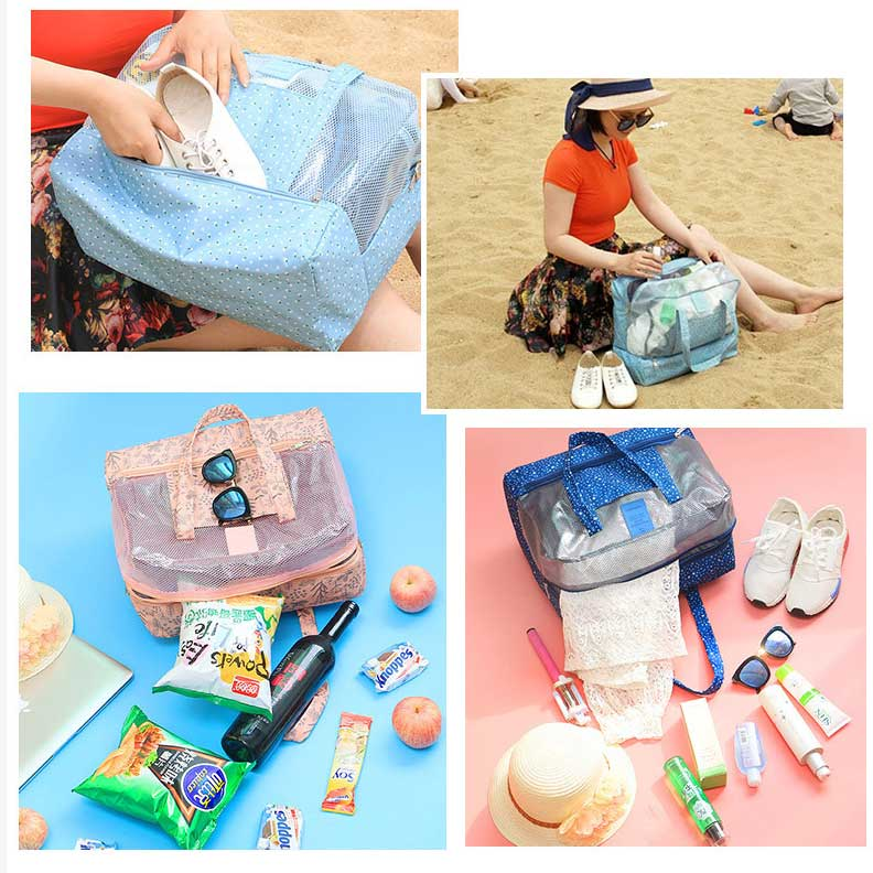 Waterproof Dry Wet Separation Mesh Beach Tote Bag